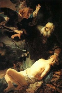 Abraham offers Isaac as a sacrifice.