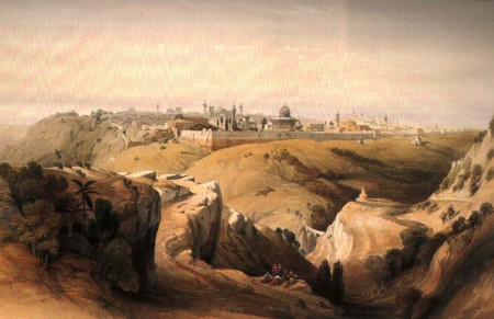 Here is an artist's rendering of Mount Zion by William Henry Bartlett.