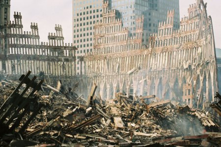The lower perimeter columns of the north and west faces of Two World Trade Center (south tower) after the collapse of the building.