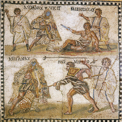 In this mosaic a retiarius (net-fighter) named Kalendio is fighting a secutor named Astyanax. In the bottom image, the secutor is covered in the retiarius's net. The Verse of the Day relates to the Lord who rescues from the net those who fear him.
