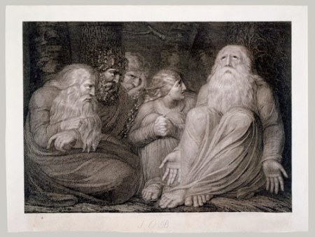 This artistic rendering of Job and his friends is done by William Blake.