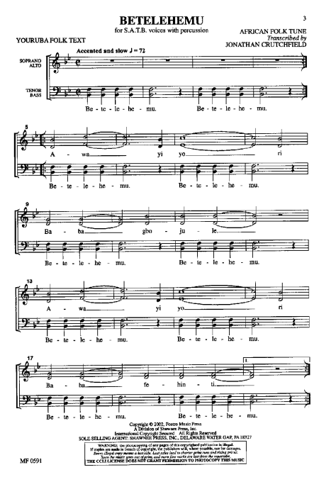 Sheet music for Betelemu, Nigerian Christmas carol sung in the Yoruba dialect.